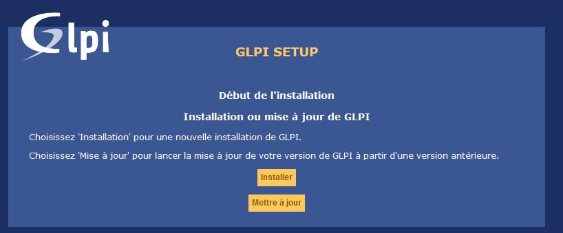 GLPI interface WEB - Installer