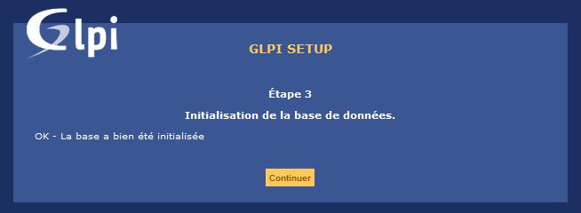 GLPI interface WEB - Base de données fin création