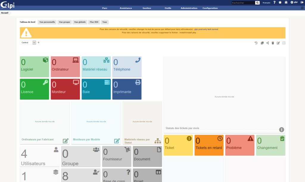 GLPI interface WEB - Première Connexion interface glpi