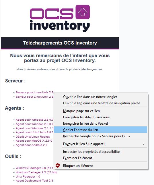 Récupérer lien téléchargement OCS inventory