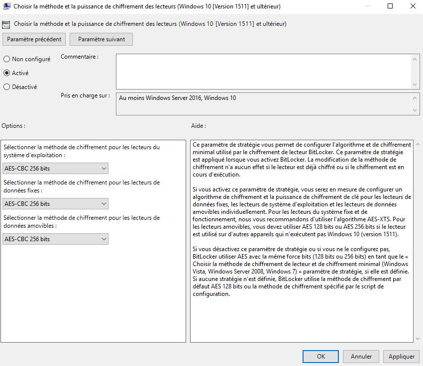 Choisir la méthode et la puissance de chiffrement des lecteurs (Windows 10 [Version 1511] et ultérieur)
