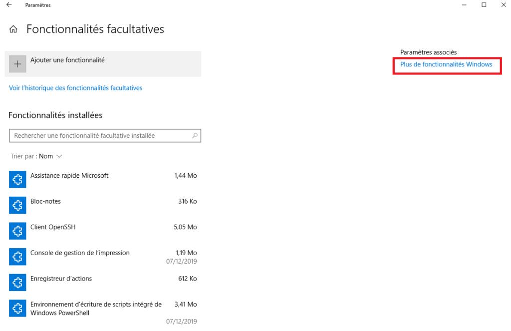 Plus de fonctionnalités Windows